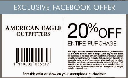 American eagle coupons online september 2018
