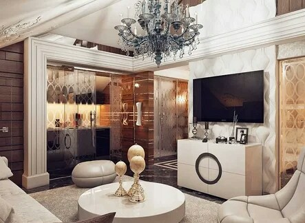Interior decoration in the style of art decks of a one-story residential building