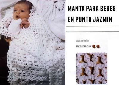 Manta para bebes con punto jazmin
