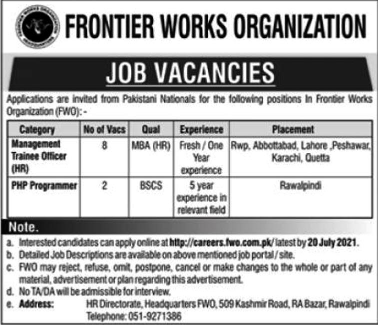 Latest Jobs in Frontier Works Organization FWO 2021