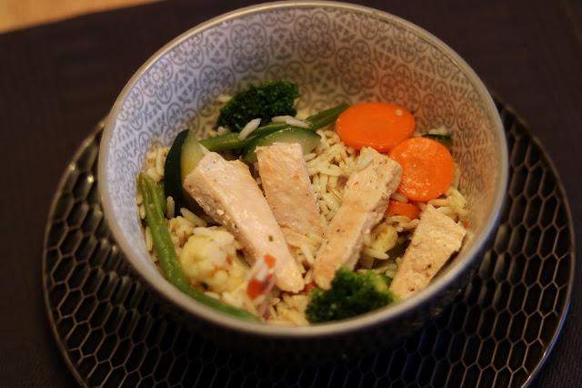 Riz aux légumes et à la dinde