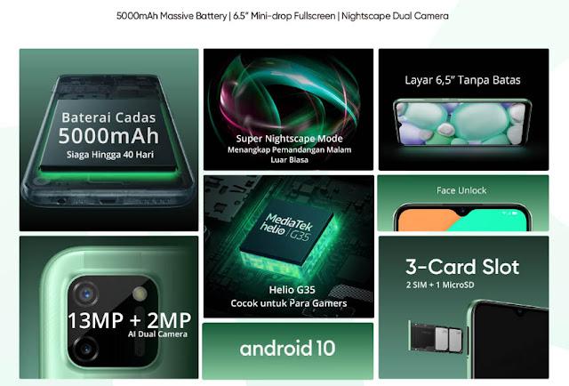 Realme C11, kapasitas baterai, 5.000mAh