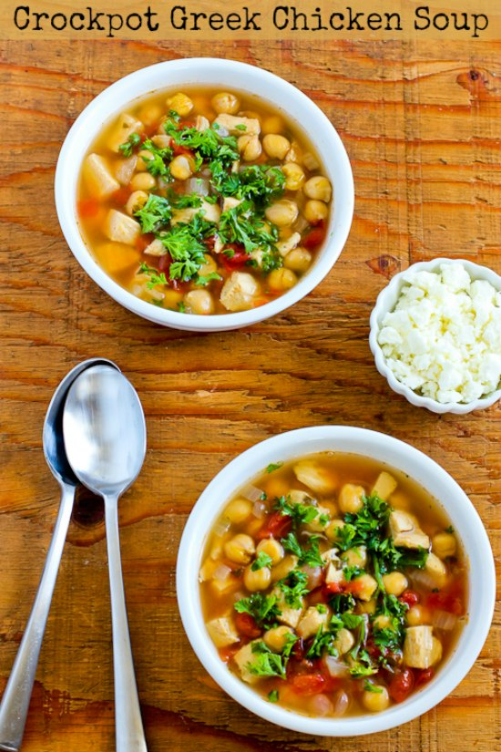 CrockPot Greek Chicken Soup with Garbanzos and Oregano found on KalynsKitchen.com
