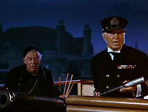 El señor Bitácora (Don Barclay) y el Almirante Boom (Reginald Owen) en Mary Poppins - Cine de Escritor