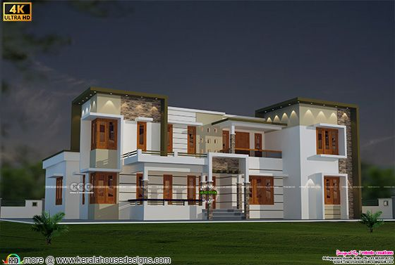 4 bedroom flat roof house architecture
