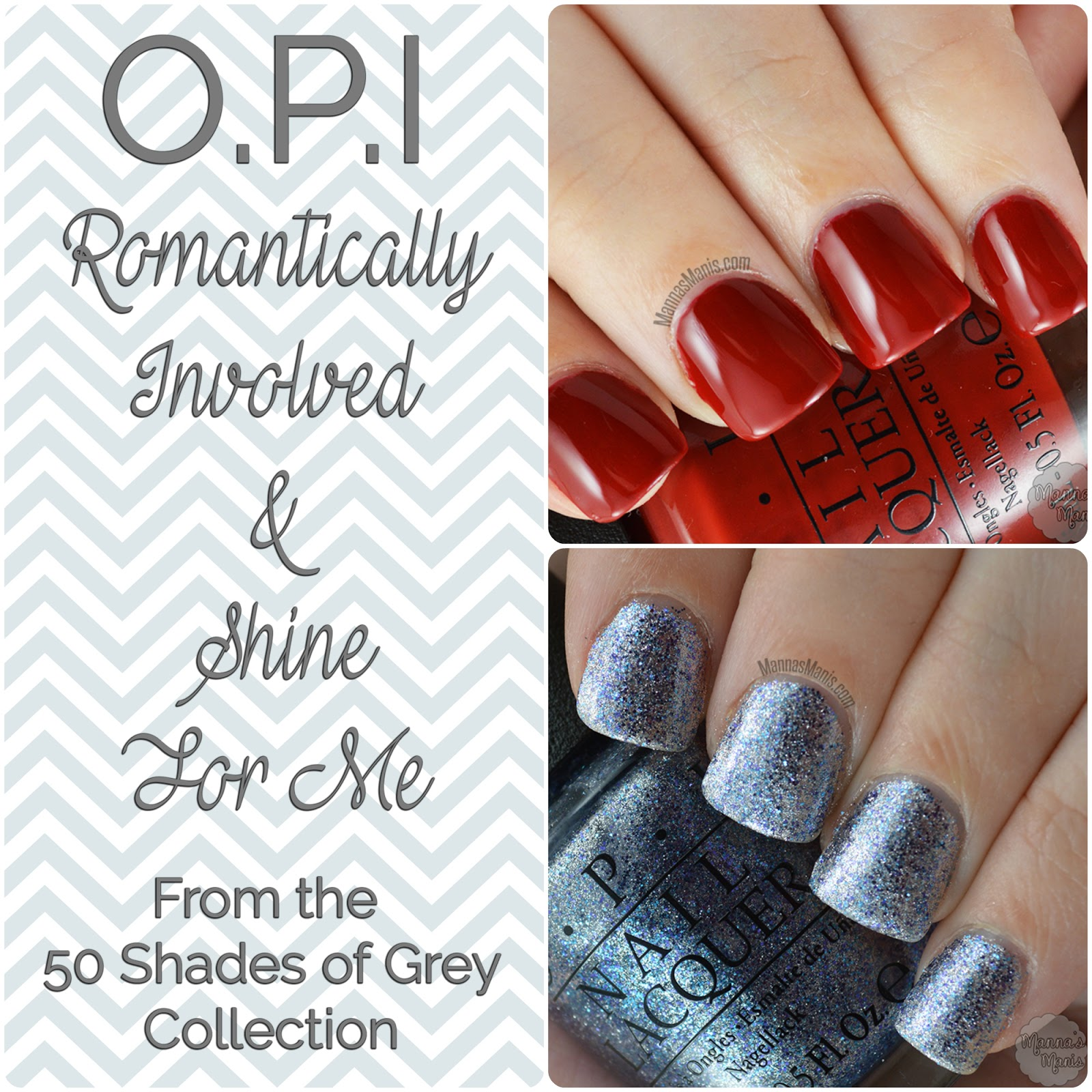 OPI romantically involved and shine for me from the 50 shades of grey collection