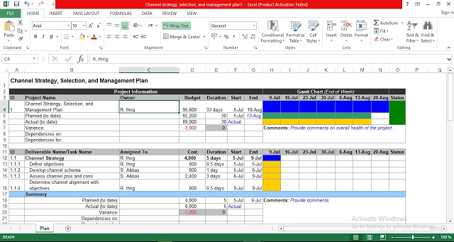 Channel Strategy, Selection, and Management Plan Excel Template