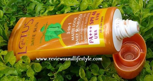 Lotus Herbals Safe Sun 3-in-1 Matt Look Daily Sunblock review