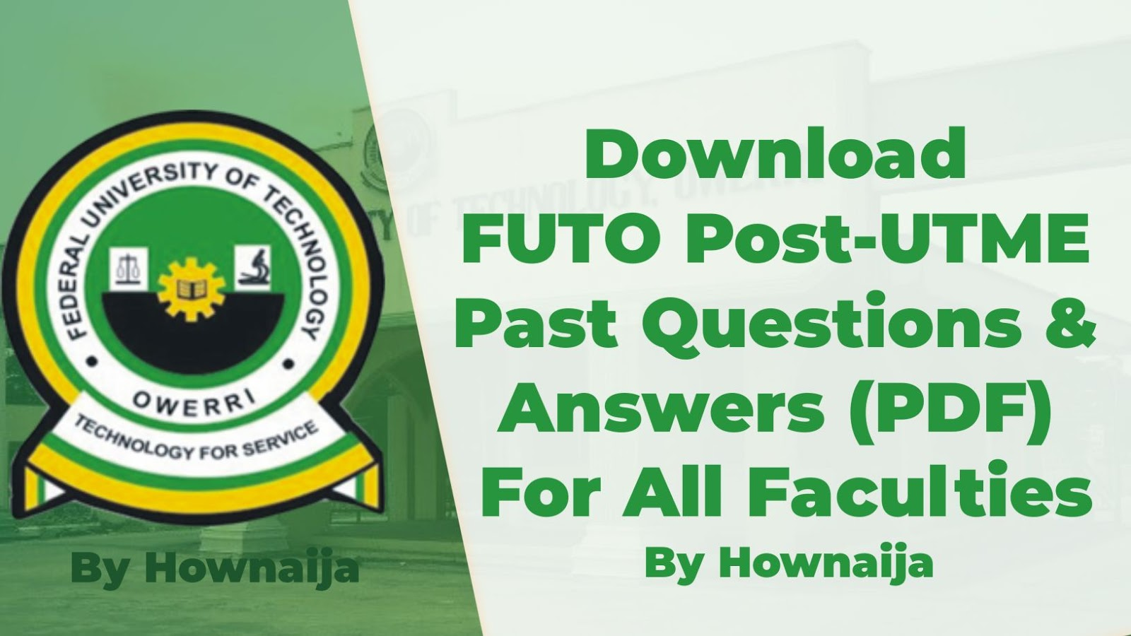 Download FUTO Post-UTME Past Questions & Answers (PDF) For All Faculties