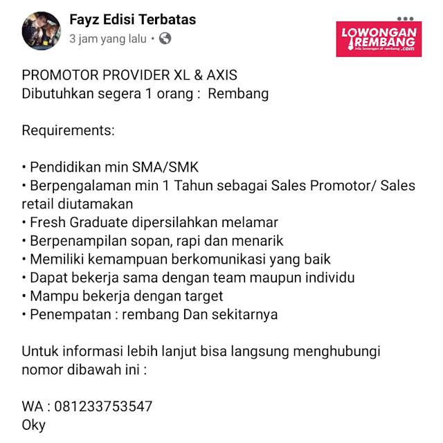Lowongan Kerja Promotor Provider XL & Axis Rembang