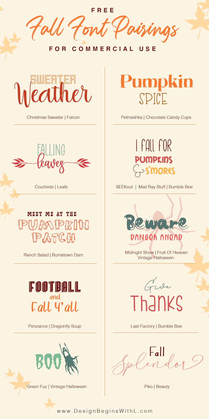 Free Fall Font Pairings for Commercial Use
