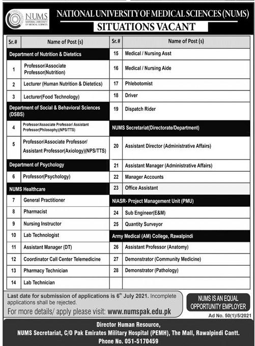 www.numspak.edu.pk Jobs 2021 - National University of Medical Sciences (NUMS) Jobs 2021 in Pakistan