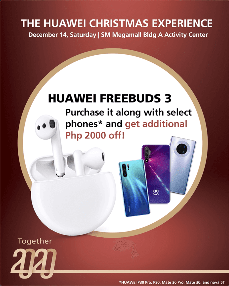 Get PHP 2,000 off you Freebuds 3 when purchased with these phones