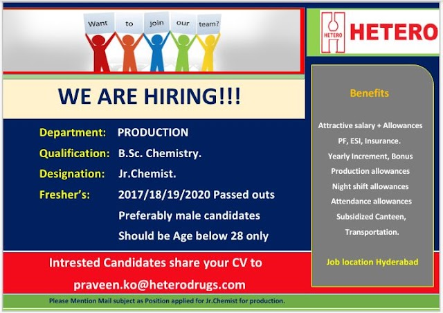 Hetero Labs | Virtual Interview for Freshers in Production for Hyderabad location