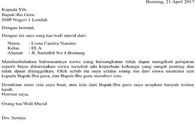 Contoh Surat Izin Sakit Sekolah SMP (via: suratku.id)