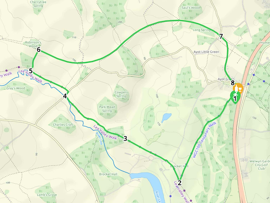 Map for Walk 38: Ayot Greenway South Loop  Created on Map Hub by Hertfordshire Walker  Elements © Thunderforest © OpenStreetMap contributors  Note: There is a larger, more-detailed map embedded at the end of these direction