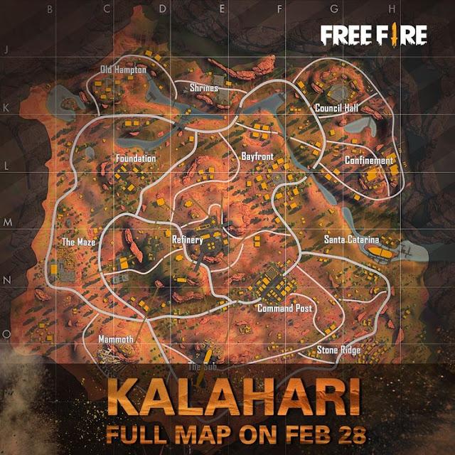 خريطة كالاهاري Kalahari في فري فاير