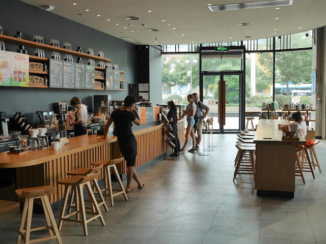 Inside the Starbucks at the Bengbu Wanda Plaza