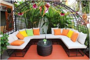 A patio furniture set that can accommodate several people