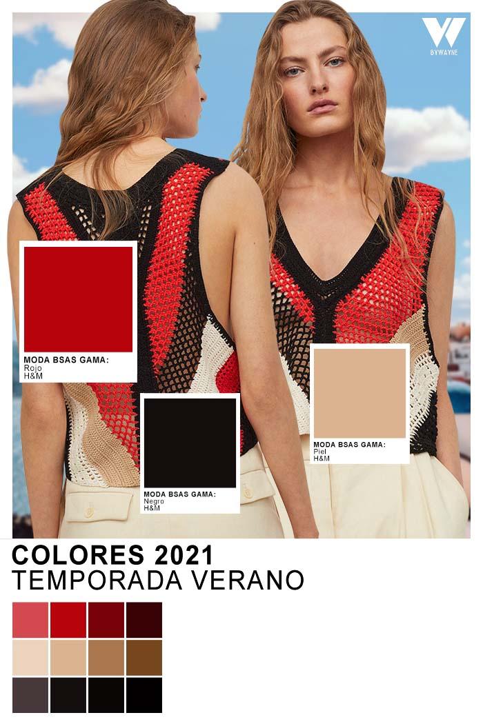 H&M Colores 2021 Temporada Verano Rojo Negro Piel