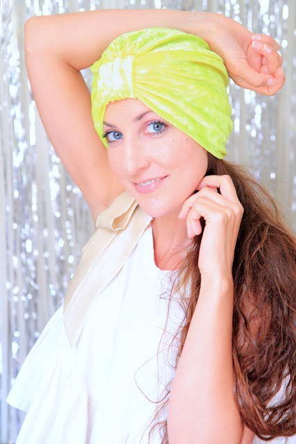 Fashion Turban in Chartreuse Crushed Velvet by Mademoiselle Mermaid