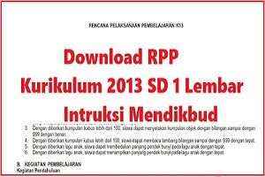 RPP Kurikulum 2013 SD 1 Lembar  Intruksi Mendikbud