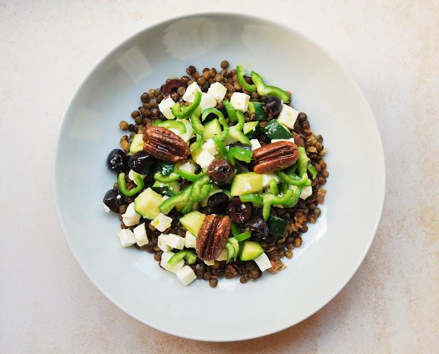 Salade de lentilles-feta-courgette-poivron