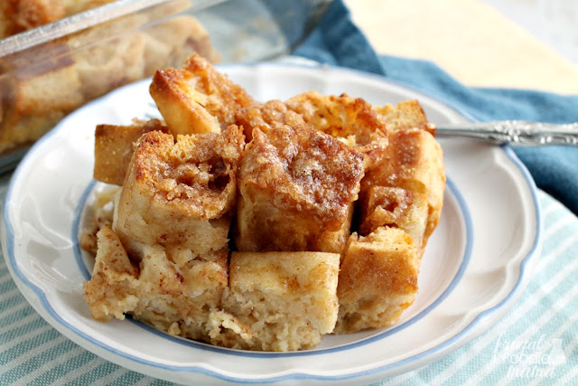 This simple & delicious Cinnamon-Sugar English Muffin Casserole can be made the night before making it the perfect breakfast for a busy weekday morning or a laid back weekend brunch.