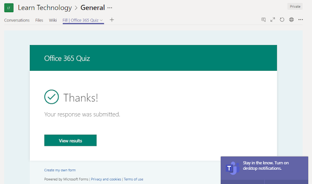Responded quiz on Microsoft Teams