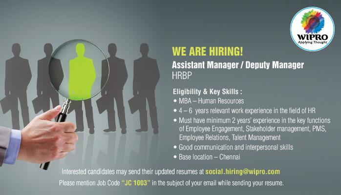 job opportunities  assistant manager   deputy manager  hrbp
