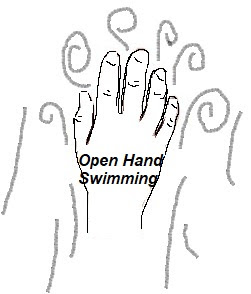 Image of a hand with open finger. You'll get more out of all swimming strokes if you just open you finger a little.