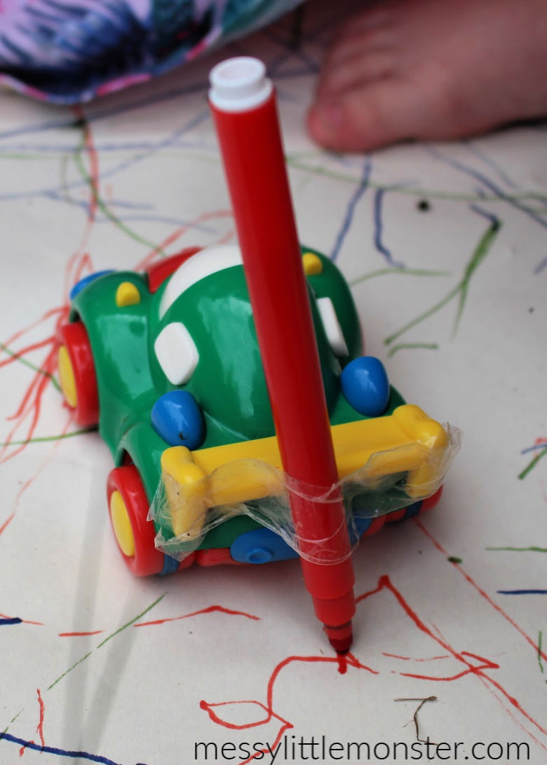 car themed mark making activity for toddlers