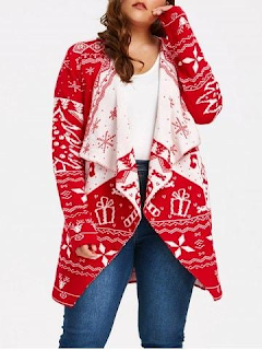 Christmas Element Plus Size Draped Cardigan