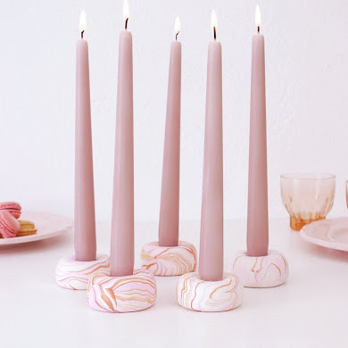 DIY Marbled Candle Holders