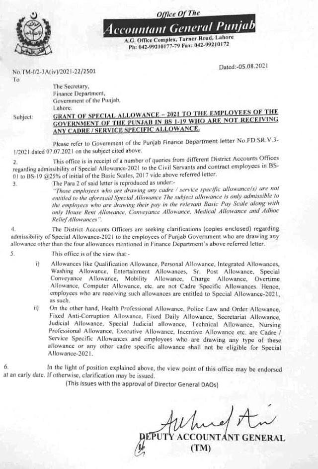 CLARIFICATION REGARDING ENTITLEMENT OF SPECIAL ALLOWANCE 2021