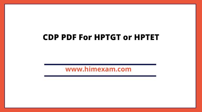 CDP PDF For HPTGT or HPTET