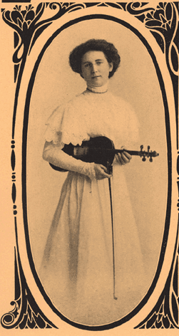 Agnes Tully Stevens of Chicago as former Circuit Chautauqua violinist circa 1910