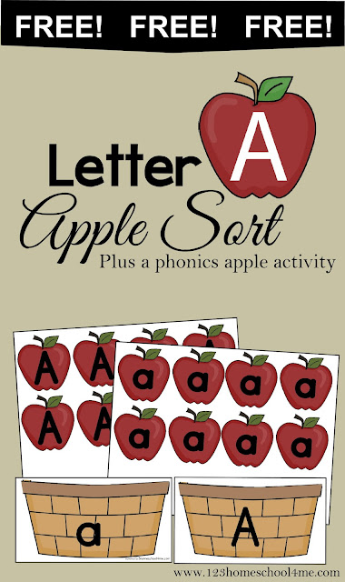 Letter A - Free printable upper and lower case letter a alphabet activity for toddler, preschool, and kindergarten age kids. Perfect for a fall, September theme.