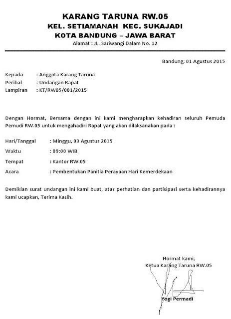 Contoh Surat Undangan Resmi Karang Taruna