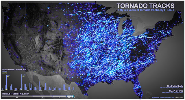 56 Years of Tornado Paths by F Scale