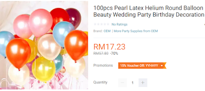Lazada Birthday Festival Blogger Contest, Birthday Festival Sale, Lazada Malaysia, Anniversary Lazada Yang Ke - 6, Blogger Contest By Lazada, April, 2018, Round Balloon Beauty Party Birthday Decoration,