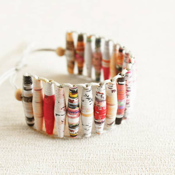 paper bead bracelet made using patterned papers