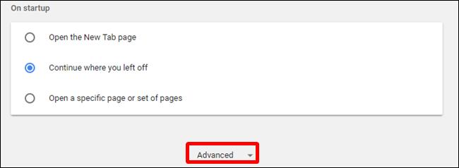 """ضمن """"الإعدادات"""" ، انقر فوق """"خيارات متقدمة"""" ، الموجود في أسفل الصفحة"""