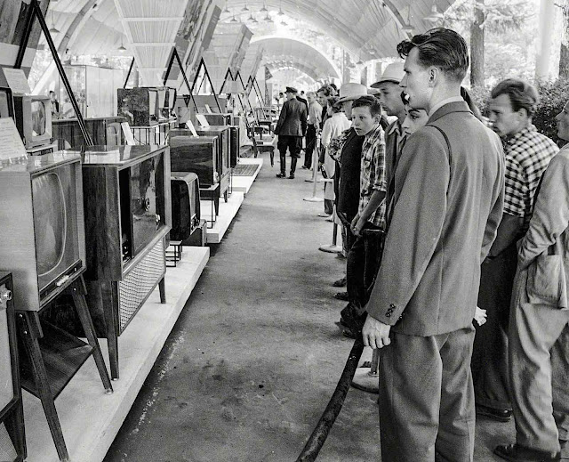 at the 1959 American National Exhibition in Moscow, televisions on display