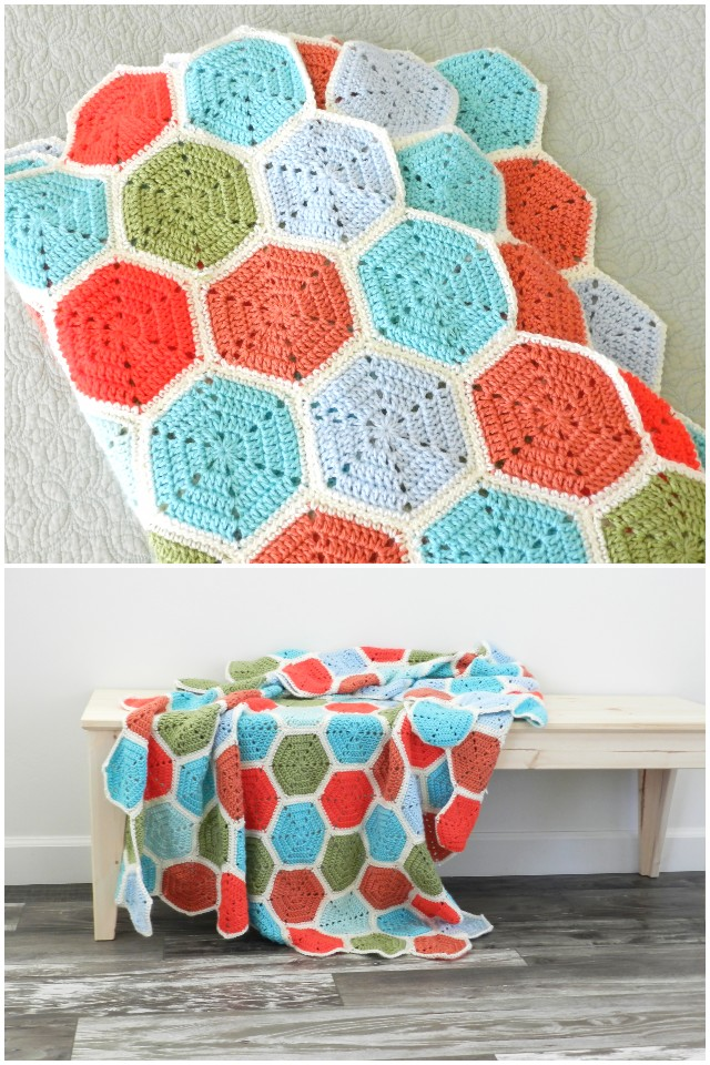 Crochet Hexagon Blanket with Pattern