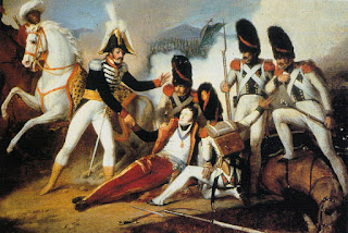 An 1830 painting shows Joachim Murat helping the wounded Filangieri at the Battle of the Panaro