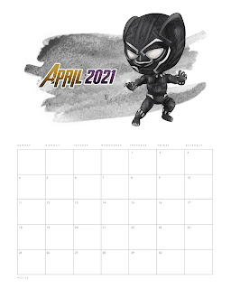 Los Vengadores: Calendario 2021 para Imprimir Gratis.