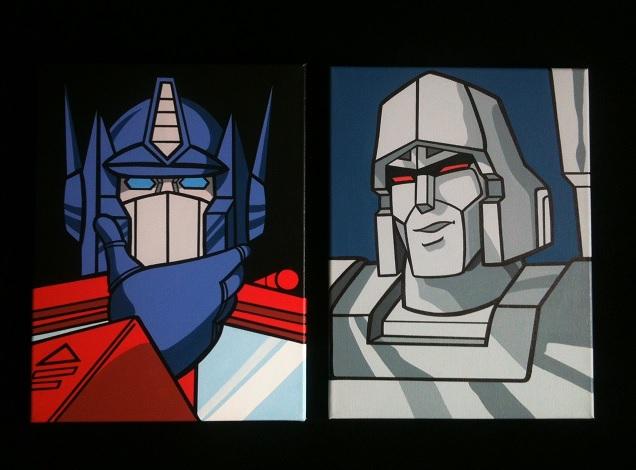 Jdtoonart cartoon and comic pop art paintings may 2016 - Transformers cartoon optimus prime vs megatron ...