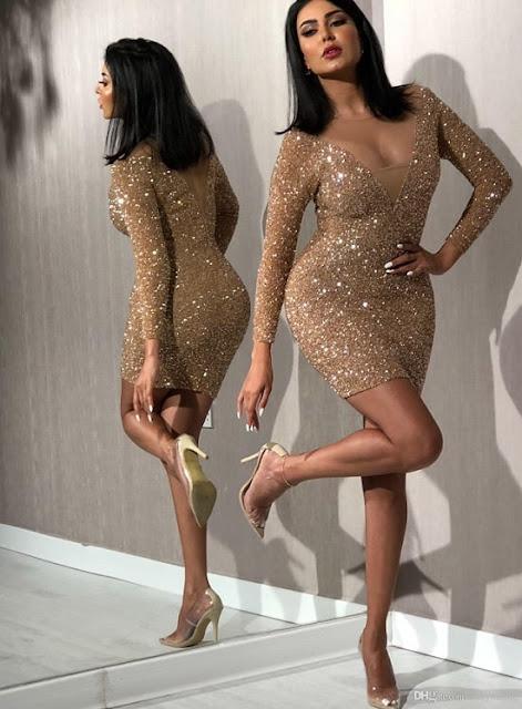 فستان سهرة ذهبي مليئ بالسترس موديل 2020