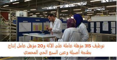 ANAPEC : توظيف 315 مؤهلة عاملة على الآلة و20 مؤهل عامل إنتاج بطنجة أصيلة وعين السبع الحي المحمدي